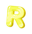 r yellow glossy bright english letter kids font vector image vector image