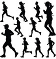 runner silhouette sport vector image vector image