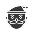 santa claus head merry christmas filled icon set vector image vector image