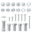 Screws bolts nuts nails and rivets realistic vector image