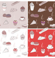 Seamless Food Pattern Background Set vector image