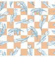 seamless pattern with cute cartoon flowers vector image vector image