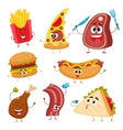 Set of funny cartoon fast food characters vector image vector image