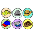 Set of Hats and Caps on Round Background vector image vector image