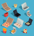 set of isometric of fast food vector image vector image