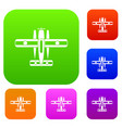 ski equipped airplane set collection vector image vector image