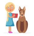 small girl stands with bull terrier and holds book vector image
