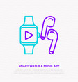smart watch and earphones music app concept vector image