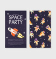 space party invitation card template birthday vector image vector image
