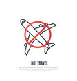 stop aviation line icon prohibiting sign vector image vector image