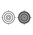 target line and glyph icon focus and goal aim vector image vector image