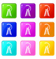 tennis referee chair icons set 9 color collection vector image vector image