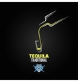 tequila shot bottle glass menu design background vector image vector image