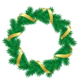 Christmas wreath with baubles and christmas tree vector image