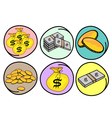 Set of Money and Gold on Round Background vector image