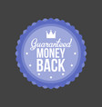 guaranteed money back blue badge vector image