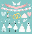 wedding symbols in cartoon style cake flowers vector image