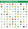 100 it business icons set cartoon style
