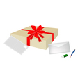 A Lovely Gift Box with Envelope and Postcard vector image