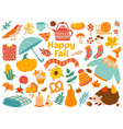 autumn set cartoon yellow plants food and forest vector image