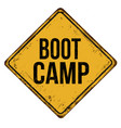 boot camp vintage rusty metal sign vector image vector image