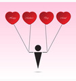 boy and heart - balloons with text vector image