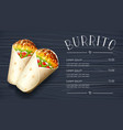 burrito mexican national vector image vector image