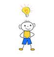 cartoon boy with light bulb - concept of idea vector image vector image