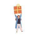 cheerful woman carrying huge present box overhead vector image vector image