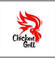 chicken grill barbecue logo modern bar design vector image vector image