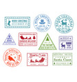 christmas post santa claus mail stamps vector image