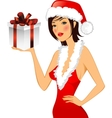 chrstmas card girl in a hat vector image vector image