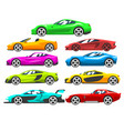 collection sports racing cars colorful vector image