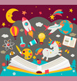 concept kids dreams while reading book vector image vector image