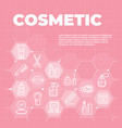 cosmetic pink background with icons and signs vector image vector image