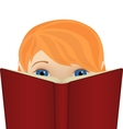 Cute little ginger girl reading a big book vector image