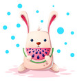 cute rabbit with watermelon vector image vector image