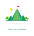 flag on the mountain peak vector image