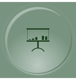 Flat paper cut style icon of a presentation stand vector image