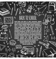 Frame back to school on chalk board vector image vector image