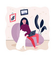 freelancer woman with laptop working from home vector image vector image
