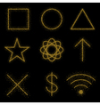 Gold symbols on black background vector image