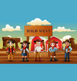 group cowboys and cowgirls in wild west farm ba vector image vector image