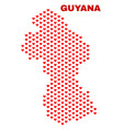 guyana map - mosaic of lovely hearts vector image vector image