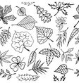 Hand drawn engraving style leaves Seamless pattern vector image