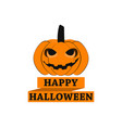 happy halloween pumpkin with ribbon greeting card vector image