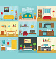 interior banner set flat style vector image