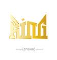 luxury golden King Crown design element on white vector image