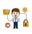 man folder file with padlock security data vector image vector image