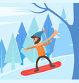 man snowboarding in winter forest hobmale vector image vector image
